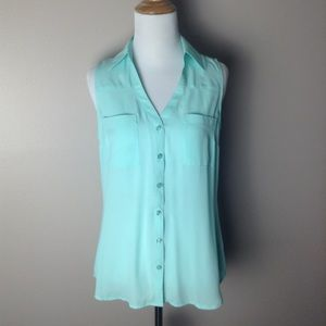 Express Turquoise Button Down Tank Top.
